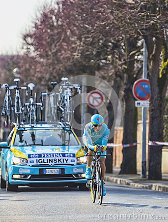 The Cyclist Maxim Iglinskiy- Paris Nice 2013 Prologue in Houille Editorial Stock Image