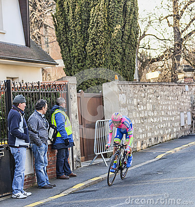 The Cyclist Michele Scarponi- Paris Nice 2013 Prologue in Houill Editorial Image