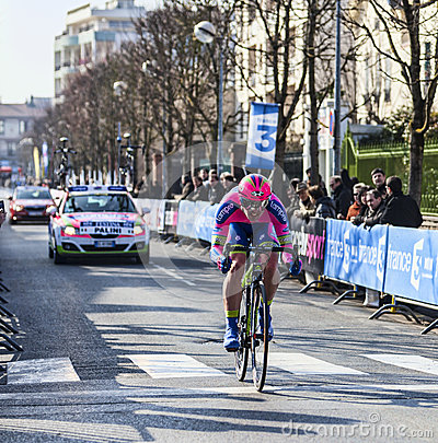 The Cyclist Palini Andrea Francesco- Paris Nice 20 Editorial Stock Image