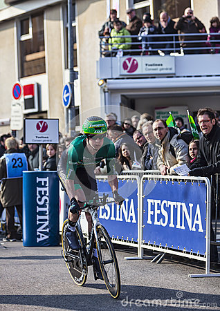 The Cyclist Pichot Alexandre- Paris Nice 2013 Prologue in Houill Editorial Stock Photo