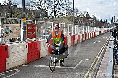 Cyclist on Princes Street Edinburgh Editorial Photography