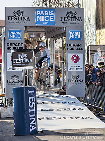 The Cyclist Rick Flens- Paris Nice 2013 Prologue in Houilles Editorial Photo
