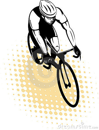 Cyclist riding racing bicycle