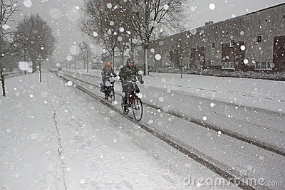 Cyclist in the snow, Amsterdam , Holland Editorial Photography