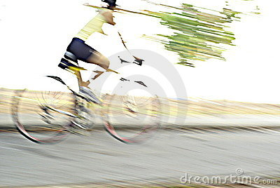 Cyclist speed blurs