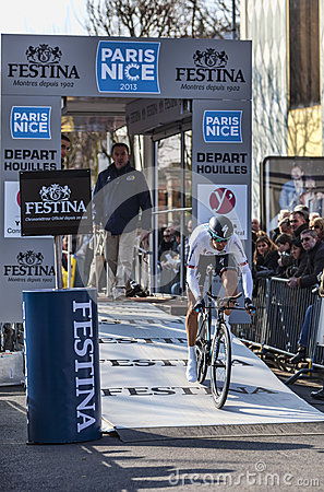 The Cyclist Velits Peter- Paris Nice 2013 Prologue in Houilles Editorial Stock Image