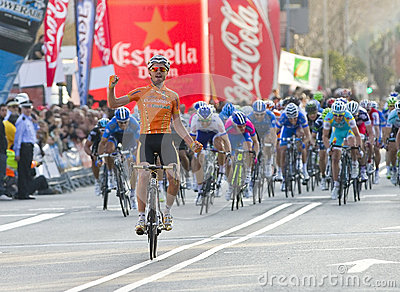 Cyclist victory Editorial Stock Photo