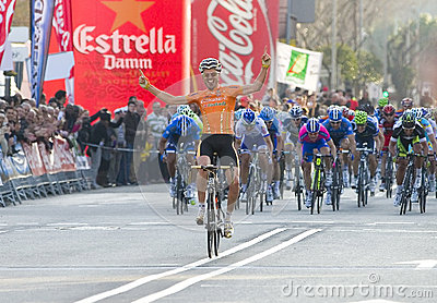 Cyclist victory Editorial Image
