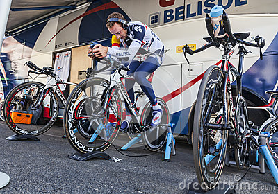 Cyclist Warming Up Editorial Photography