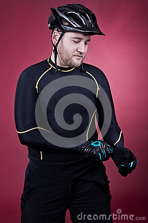 Cyclist is wearing gloves