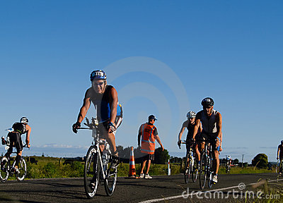 Cyclists appoach halfway turnaround. Editorial Stock Image