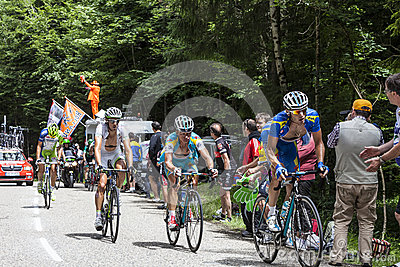 Cyclists Climbing Col du Granier Editorial Stock Image