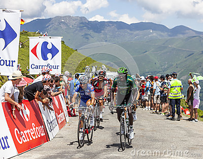 Cyclists on Col de Val Louron Azet Editorial Image