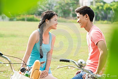 Cyclists on date