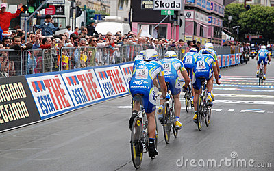 Cyclists in finishing line Editorial Stock Photo