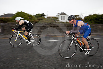Cyclists, panning technique,2nd Curtain Sync Flash Editorial Image