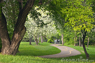 Cyclists on Pathway Editorial Stock Image