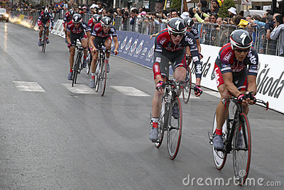Cyclists prior  finishing line Editorial Stock Image