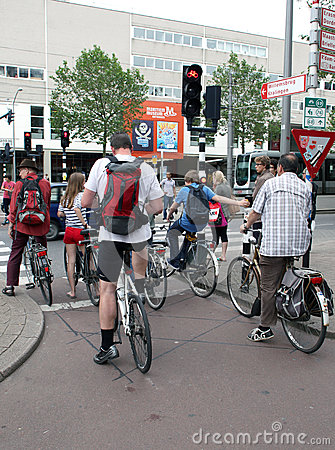 Cyclists in Rotterdam Editorial Photo