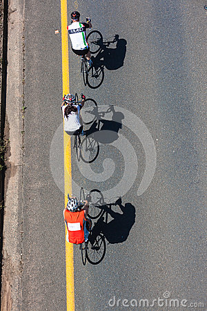 Cyclists Three Downward  Editorial Image