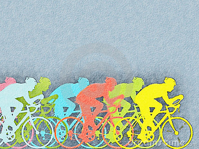 Cyclists watercolor