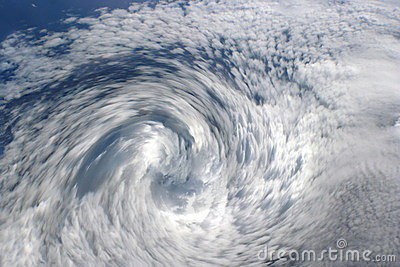 Cyclone clouds, eye of storm.