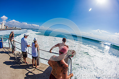 Cyclone Swells Surfing Jump Zone Editorial Image