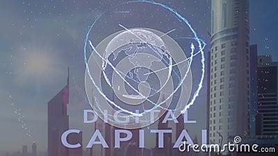 Cyfrowego kapitałowy tekst z 3d hologramem planety ziemia przeciw tłu nowożytna metropolia zbiory