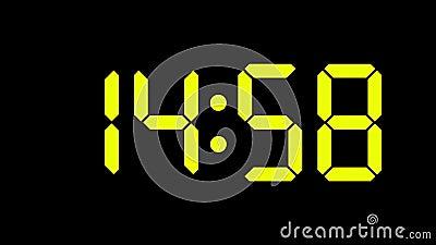 Cyfrowy zegarowy obliczenie od zero sześćdziesiąt zieleni, koloru żółtego liczb/- folujący HD PROWADZĄCY pokaz - zbiory