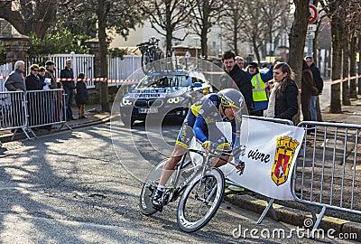 Cyklisten Christensen Mads- Paris Nice Prol 2013 Redaktionell Arkivfoto