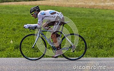 Cyklisten Jean-Christophe Peraud Redaktionell Arkivfoto