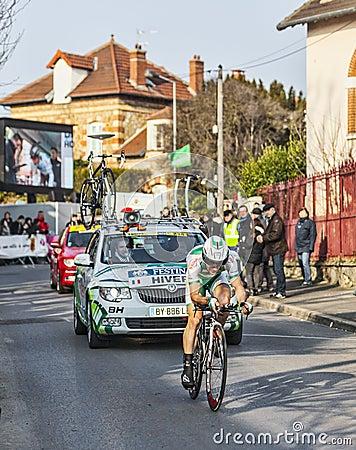 Cyklisty Hivert Jonathan Paryski Ładny 2013 prolog w Houille Obraz Editorial