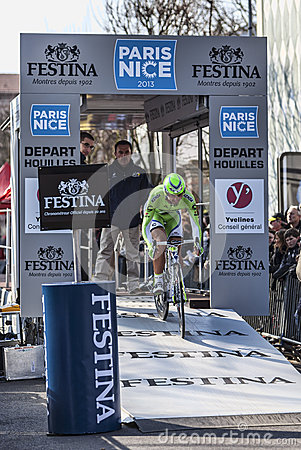 Cyklisty Ratto Daniele Paryski Ładny 2013 prolog w Houilles Obraz Stock Editorial