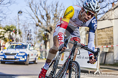 The Cyclist Debusschere Jens- Paris Nice 2013 Editorial Stock Image