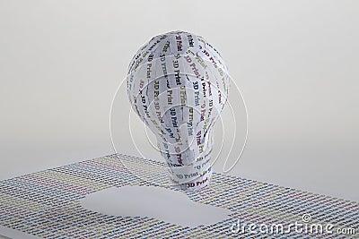 CYMK 3D Printing concept: lightbulb