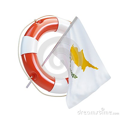 Cyprus flag in rescue circle, lifebuoy, life buoy
