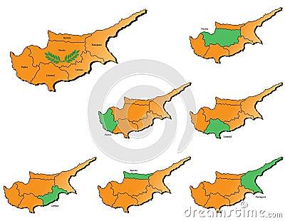 Cyprus provinces maps