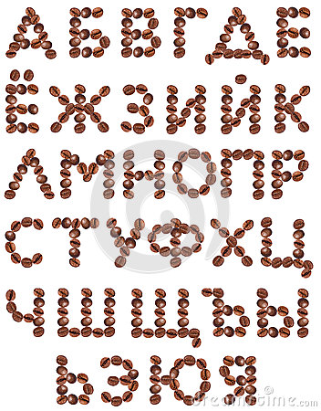Cyrillic Alphabet made from coffee beans.