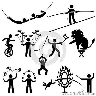 Cyrkowych wykonawców akrobata piktogramy
