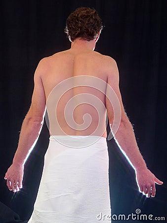 Człowiek się topless widok