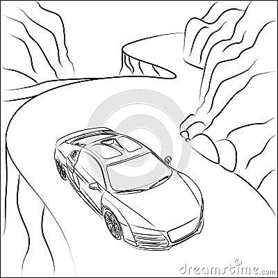 Sportowy samochód na halnej drodze