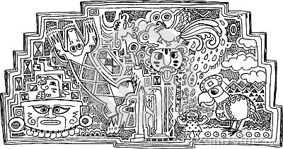 Czarny i biały majowie dekoracja