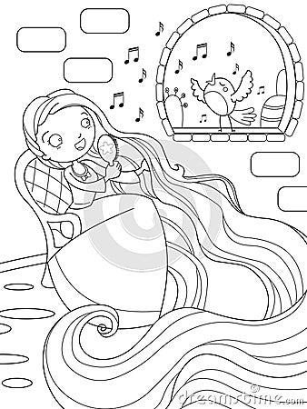 Rapunzel śpiewa w wierza
