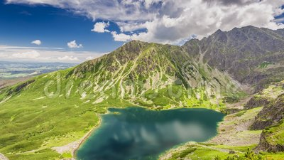 Czarny Staw Gasienicowy Lake in summer, Tatra Mountains, Poland stock footage