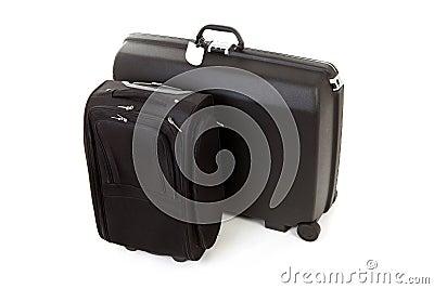 Czarny walizki dwa