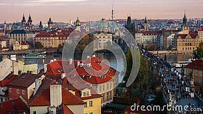 Czas spacerowania po moście Karola, Praga, Czechy zbiory
