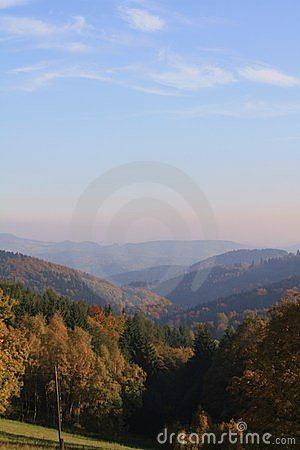 Czech autumn mountains  fog