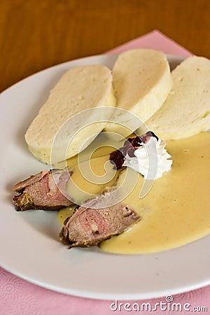 Czech marinated beef tende