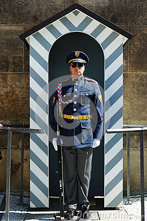 Free Czech Palace Guard In A Guard House Stock Photography - 98827422