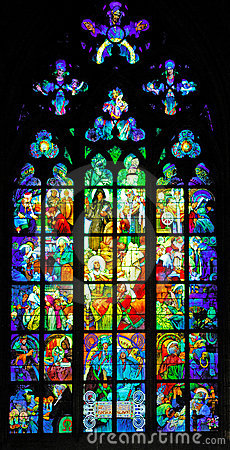 Czech Republic, Prague: stained glass of St Vitus